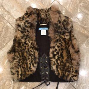 Marciano Cropped Bolero Fur Leopard Vest